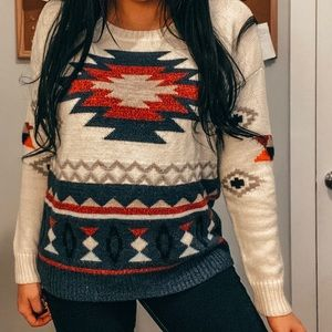 AMERICAN EAGLE AZTEC WOOL BLEND PULLOVER SWEATER L